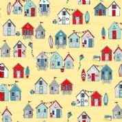 Sea Breeze by Makower UK - 6306 - Beach Huts on Pale Yellow - 2080_Y - Cotton Fabric